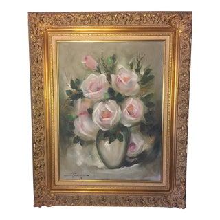 Vintage 1970s Impressionist Floral Still Life Signed Oil on Canvas Painting For Sale