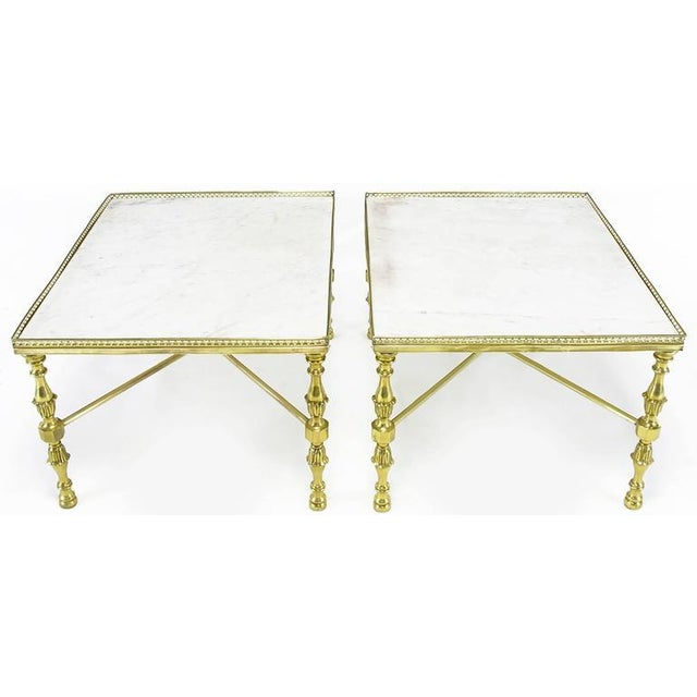 Brass Gallery and Carrara Marble Regency X-Base Side Tables - Image 2 of 7