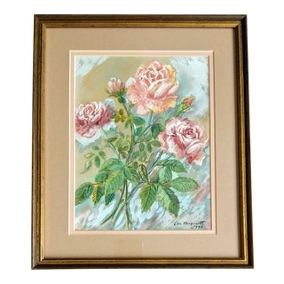 Mid-Century Roses Vintage Flower Painting For Sale