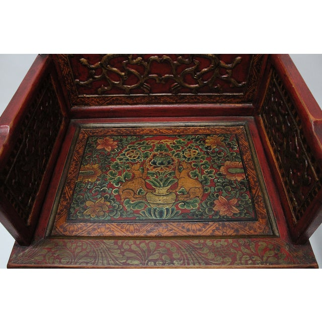 Vintage Tibetan Hand-Painted Chairs - A Pair - Image 6 of 7