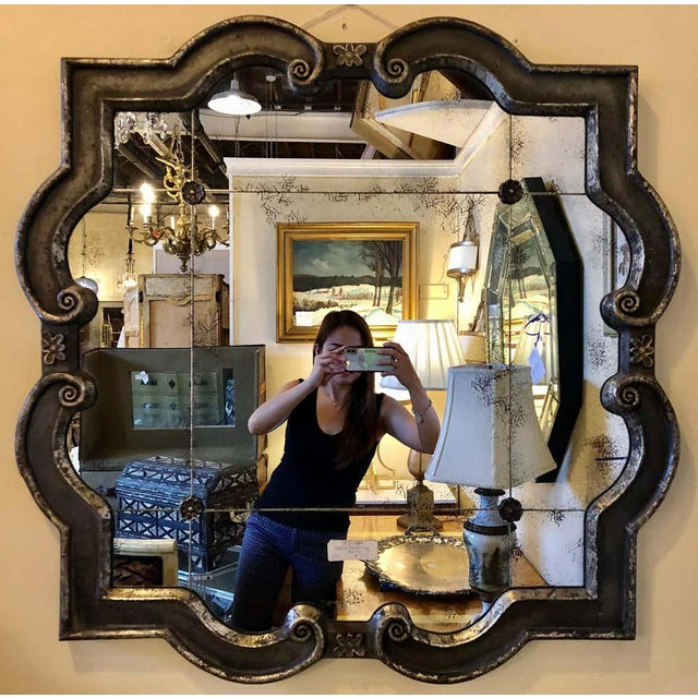 Hollywood Regency Hollywood Regency Style Wall Mirror Silver Overlay Decorated Midcentury For Sale - Image 3 of 11