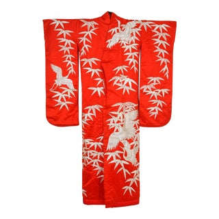 Vintage Japanese Red Silk Brocade Ceremonial Kimono For Sale