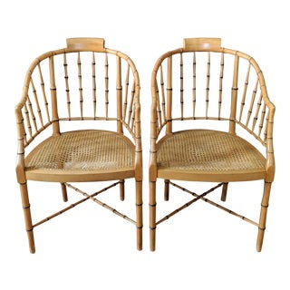 1960s Vintage Baker Furniture Faux Bamboo Tub Chairs- A Pair For Sale