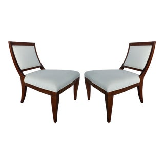 Elegant Mahogany Slipper Chairs With Linen Upholstery-A Pair For Sale