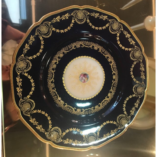 20th Century Edwardian Sumptuous Cobalt and Gold Service Dinner Plates - Set of 10 For Sale - Image 9 of 10