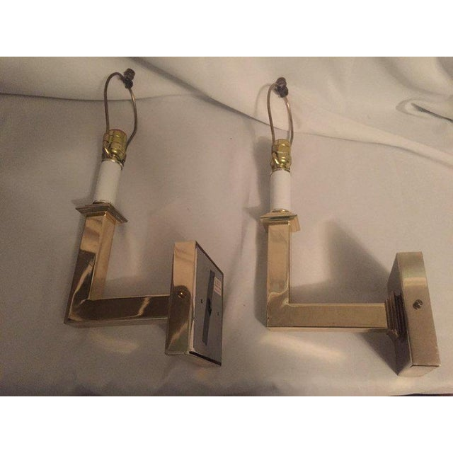 Karl Springer Vintage Modern Square Arm Wall Lamps Heavy Brass in the Style of Karl Springer - a Pair For Sale - Image 4 of 12