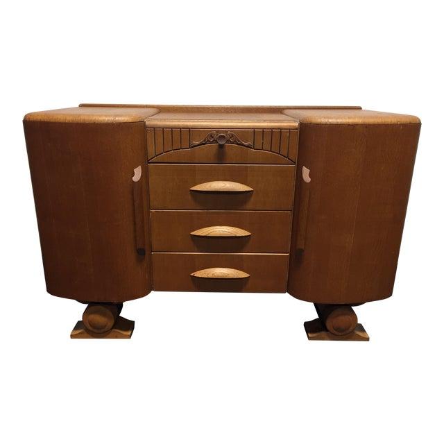 Harris Lebus Vintage Art Deco Tiger Oak Sideboard For Sale