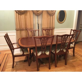 Traditional Ethan Allen Dining Set - 7 Pieces - Includes Table W/ 2 Leaves, 6 Chairs, Custom-Made Protective Table Cover Preview