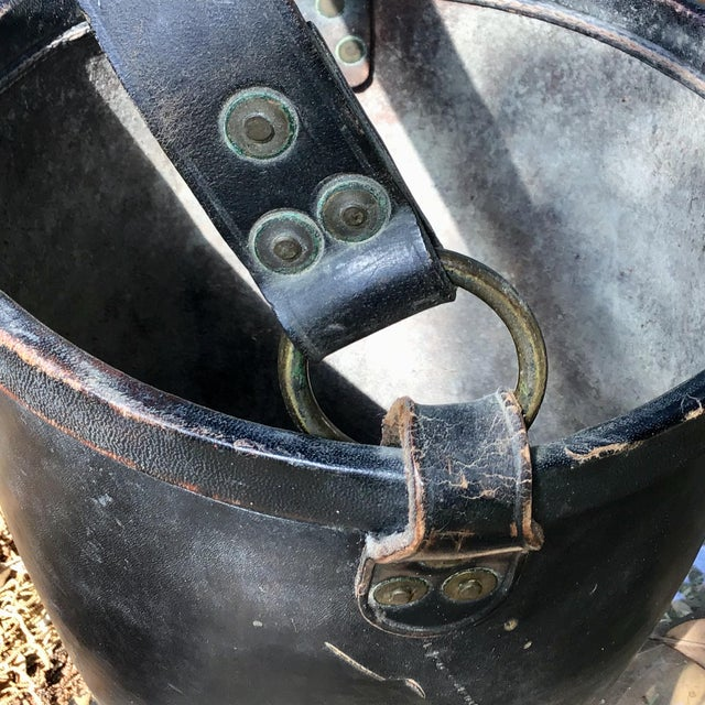 Leather Fire Bucket With Brass Rivets and Crest For Sale - Image 4 of 11