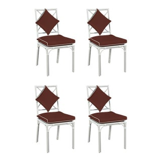Haven Outdoor Dining Chair, Canvas Bay Brown with Canvas White Welt, Set of Four For Sale