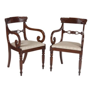 Early 19th Century English William IV Armchairs- A Pair For Sale