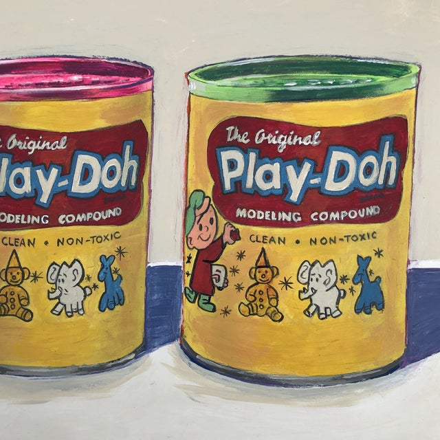 "Contemporary Contemporary Philadelphia Illustrator Stephen Heigh "" Play-Doh"" Original Painting For Sale - Image 3 of 6"