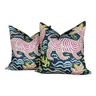 Chinoiserie Clarence House Tibet Tiger Pillows - a Pair For Sale