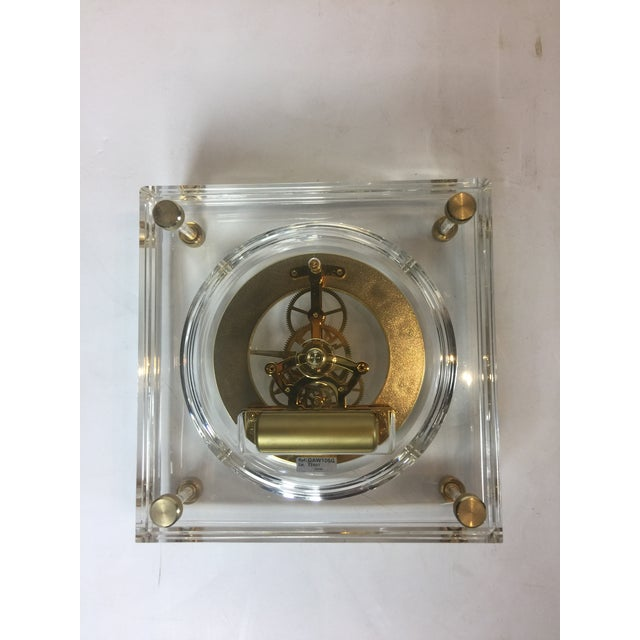 Late 20th Century Vintage Square Shape Lucite Clock For Sale In Los Angeles - Image 6 of 13