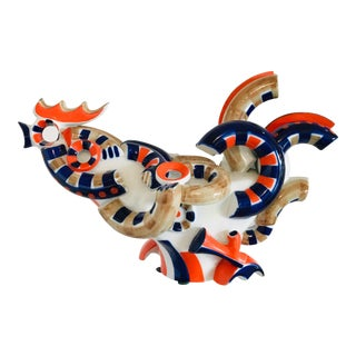 1960s Vintage Cubist Style Spanish Pottery Rooster Sculpture by Sargadelos For Sale