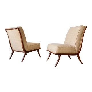 1950s T. H. Robsjohn-Gibbings Walnut Sabre Leg Slipper Chairs - a Pair