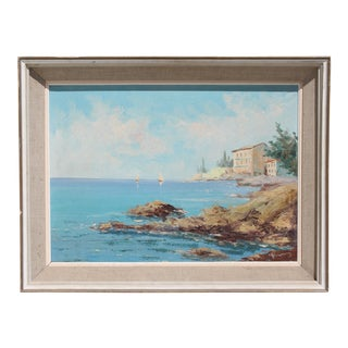 European Costal Scene Painting For Sale