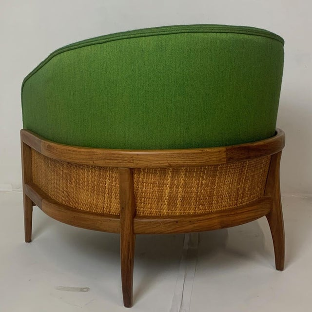 Green Pair of Lawrence Peabody Walnut Frame Stilted Floating Lounge Bucket Chairs For Sale - Image 8 of 13