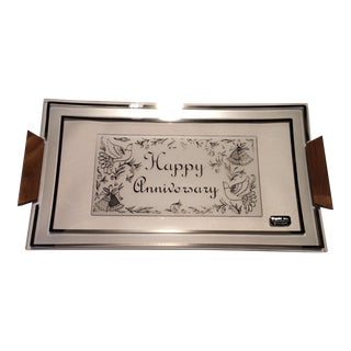 Vintage Platinum Anniversary Tray For Sale