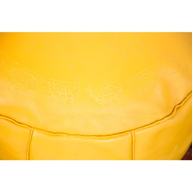 Antique Leather Moroccan Pouf Ottoman, Fly Yellow For Sale In New York - Image 6 of 8