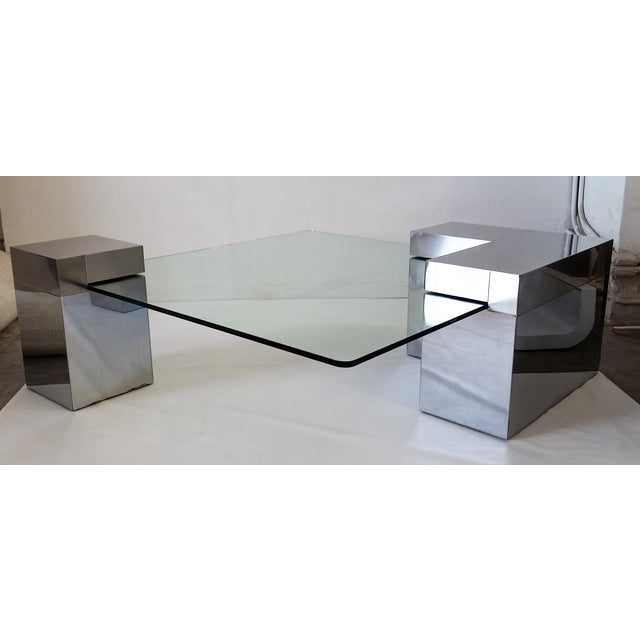 Paul Evans Style Chrome & Glass Coffee Table - Image 2 of 7