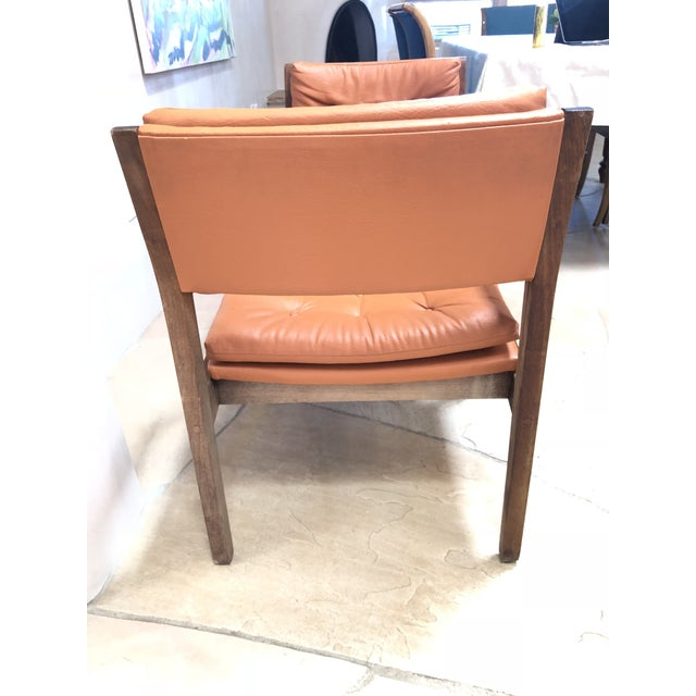 Wood Mid Century Modern Leather Chairs- a Pair For Sale - Image 7 of 9