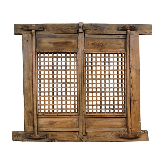 Wood Antique Chinese Framed Window Panel For Sale - Image 7 of 11
