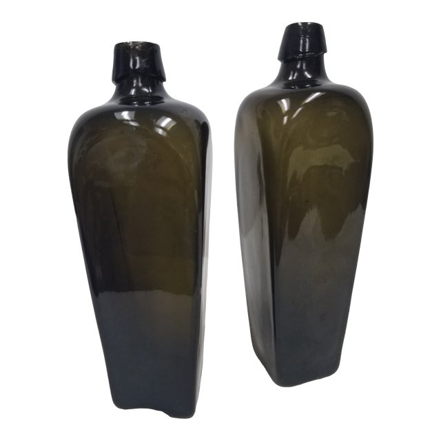 Antique English Pair of Green Bottles For Sale