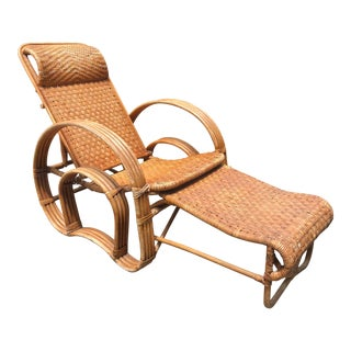 Mid Century Modern Bent Rattan Lounge Armchair Retractable Ottoman Leg Rest For Sale