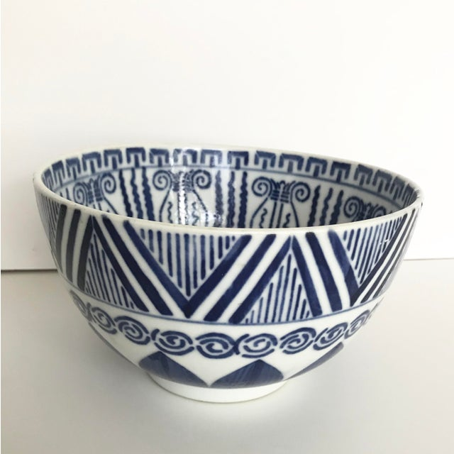 Vintage Blue and White Patterned Ceramic Bowl For Sale - Image 9 of 9