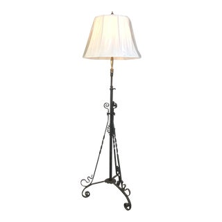 Art Nouveau Period Wrought Iron Floor Lamp For Sale