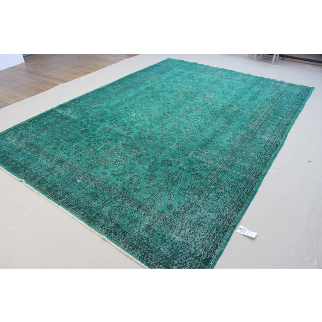 "Vintage Over-Dyed Teal Rug - 7'6"" x 10'9"" - Image 3 of 9"
