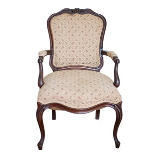 French Upholstered Fauteuil Armchair For Sale