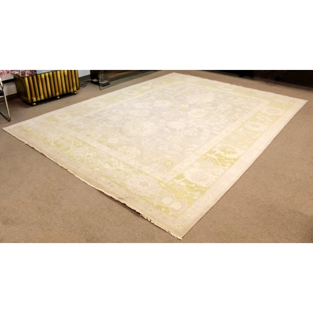 For your consideration is a wonderful, large area rug or carpet, made of 100% Indian wool, in beige green, by the...