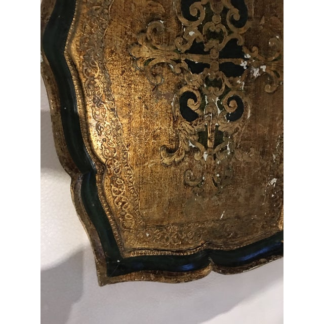 Antique wood and plaster Florentine hand painted gilt and Kelly green tray. Made in Italy.