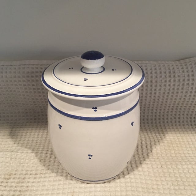 Blue & White Ceramic Canister - Image 2 of 6