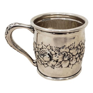 Late 19th Century Sterling Silver Christening Cup W/ Floral Pattern C.1895 For Sale