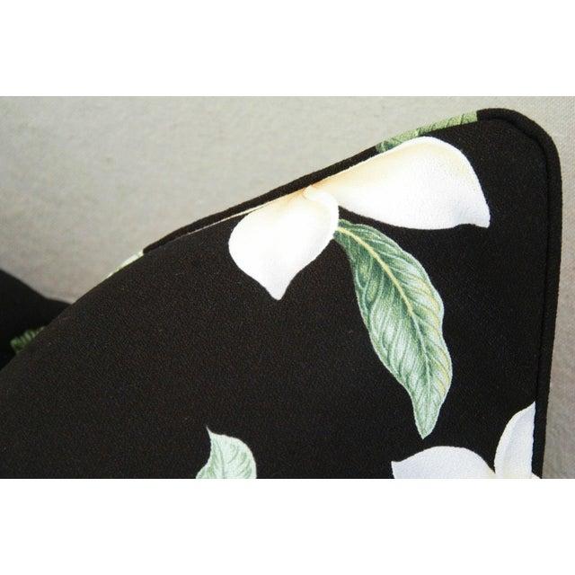Custom Tropical Blossom Barkcloth Pillows - A Pair - Image 6 of 10