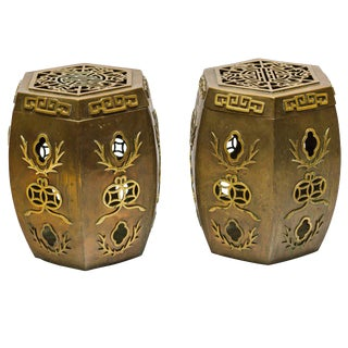 Pair of Asian Brass Garden Stools For Sale