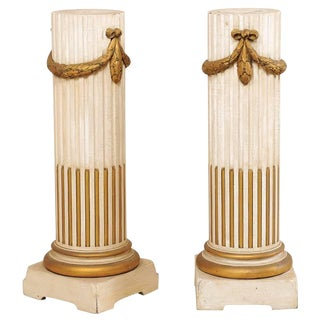 Pair of French Mid-20th Century Painted Cream and Gold Columns With Swag Motif For Sale
