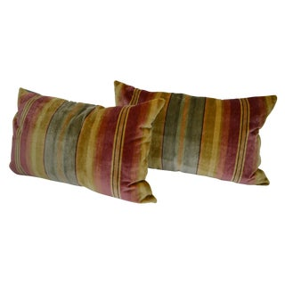 Scalamandré 100% Silk Velvet Multi-Color Stripe Lumbar Pillows - a Pair