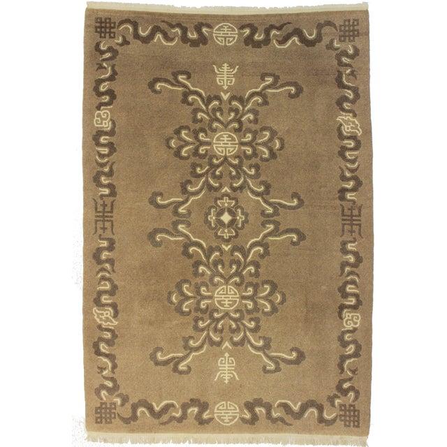 RugsinDallas Vintage Wool Tibetan Rug - 6′ × 8′8″ For Sale
