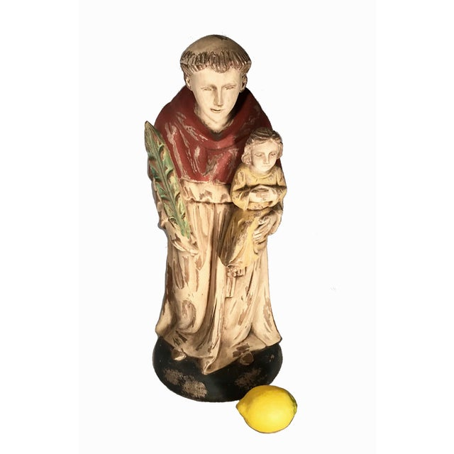 Vintage Hand Carved Wooden Saint Anthony Sculpture For Sale In Los Angeles - Image 6 of 7