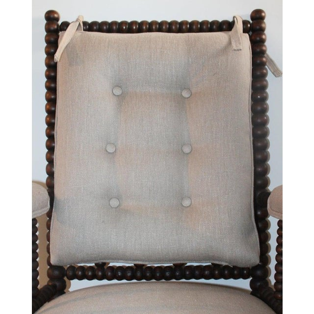 Late 19th Century 19th Century Barley Twist Spool Chair in Natural Linen For Sale - Image 5 of 7