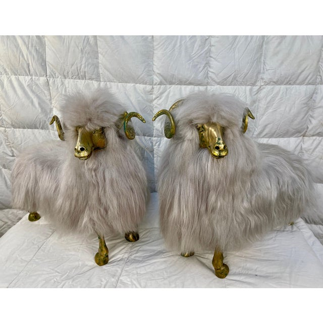 Hollywood Regency Lalanne Style Bronze Sheep Sculptures - a Pair For Sale - Image 3 of 11