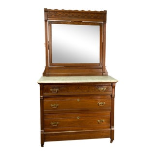 Antique Eastlake Style American Marble Top Carved Chest & Mirror For Sale