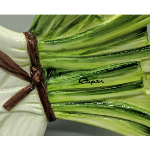 Ceramic 20th Century Majolica Italian Green Onion Platter For Sale - Image 7 of 11