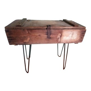 1940s Primitive WWII Artillery Shell Box Table For Sale