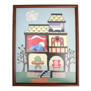 Victorian House Needlepoint Framed Under Glass For Sale