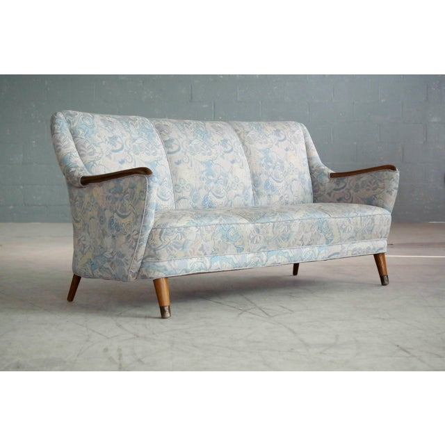Danish Midcentury Sofa With Teak Armrests For Sale - Image 10 of 10
